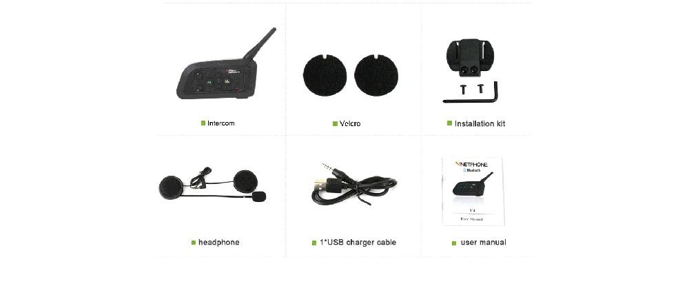 1Pc 1200M V4 BT Multi Interphone Bluetooth Intercom Waterproof FM Motorcycle Headphone Helmet Headset Communicator 4 Riders