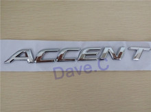 Car Word Symbol For ACCENT ABS Chrome Rear Trunk Emblem 3D Letter Sticker Auto Custom Tail Badge Decal