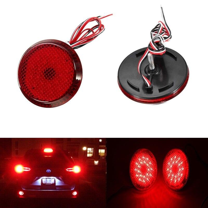 2Pcs 6.8 cm Car LED Tail Rear Bumper Reflector Lights Round Reflective Brake Stop Light Lamp for Toyota Qashqai Corolla X-Trail<br><br>Aliexpress