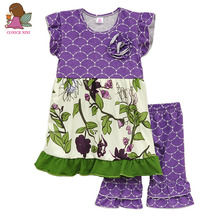 2016 Baby Girl Clothes Summer Style Purple Top With Green Floral Hem Patchwork Chest Rose Deco Casual Ruffle Shorts S045