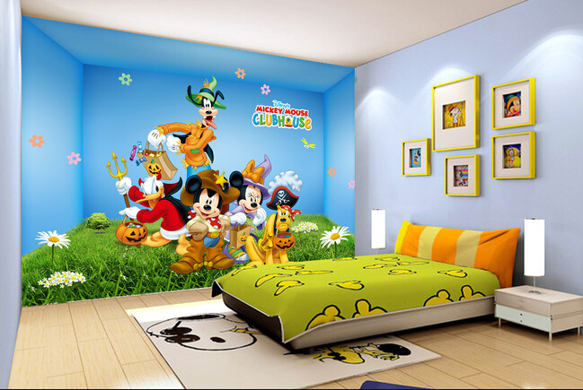 Custom papel DE parede infantil,mouse cartoon murals for childrens room boys and girls bedroom wall fabric wallpaper<br>