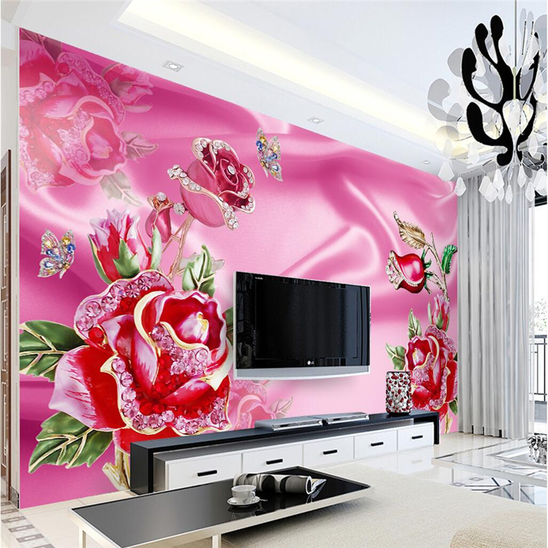 Custom 3D wallpapers of any size living room background red silk rose romantic art wall covering home decoration mural wallpaper<br><br>Aliexpress