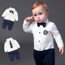Handsome Baby Rompers 2018 Newborn 0-18M Gentleman Clothing Set Infant Bow Tie Costume Cotton Baby Jumpsuit Baby Boy Clothes(China)