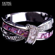 2017 New Women Luxury Rhinestone Ring Silver Color Crossed Pink White Ring Wedding Jewelry Gift for Lady 7-11 Size