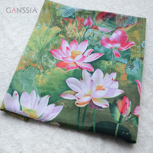 Good quality water lily printed fabric for decoration Green cloth for backdrop Garment accessories(ss-6906)(China)