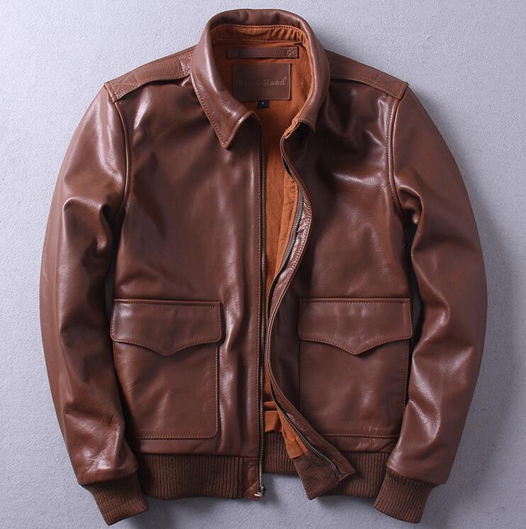 2017 old new geniune leather men's short Lapel A2 oil wax head leather jacket Air Force Flight Jacket short coat