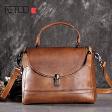 AETOO Original retro leather handbags first layer of leather handbag shoulder bag diagonal package flip cover square bag