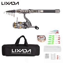 Lixada 1.5/1.8/2.1M Fishing Rod Reel Combo Full Kit Telescopic Spinning Reel Pole Set with Fishing Line Lures Hooks Carrier Bag