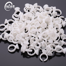 100Pcs/Pack Disposable Eyelash Extension Glue Rings Adhesive Holders Eye Lashes Pallet Glue Holder Makeup Tool