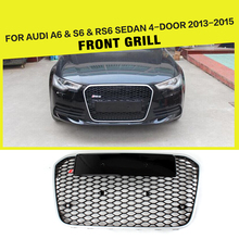 A6 RS6 Styling ABS Silver Frame Black Car Mesh Grille Honey Grille For Audi A6 & S6 & RS6 Sedan 4-Door 2013-2015