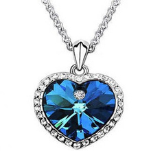 2016 Sale Collier Collares Maxi Necklace Titanic Heart Of The Ocean Necklace Plated Jewelry For Women Christmas Gifts(China)