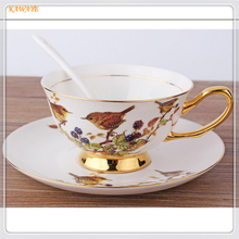 1Pcs Personality Bird Pattern Coffee Cup Ceramic Coffee Cup Creative Afternoon Tea Bone Porcelain Cup And Hand Saucers 6ZDZ468(China)