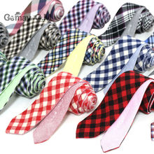 Newest Plaid 100% Cotton Ties for Men 5.0 width Skinny Neckties High Quality Adult Slim Neck Tie Free Shipping(China)