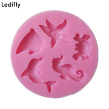 Ledifly Sea Animal Shape Chocolate Silicone Mold Fondant Cake Decoration Mould Bakeware Useful Baking Tools