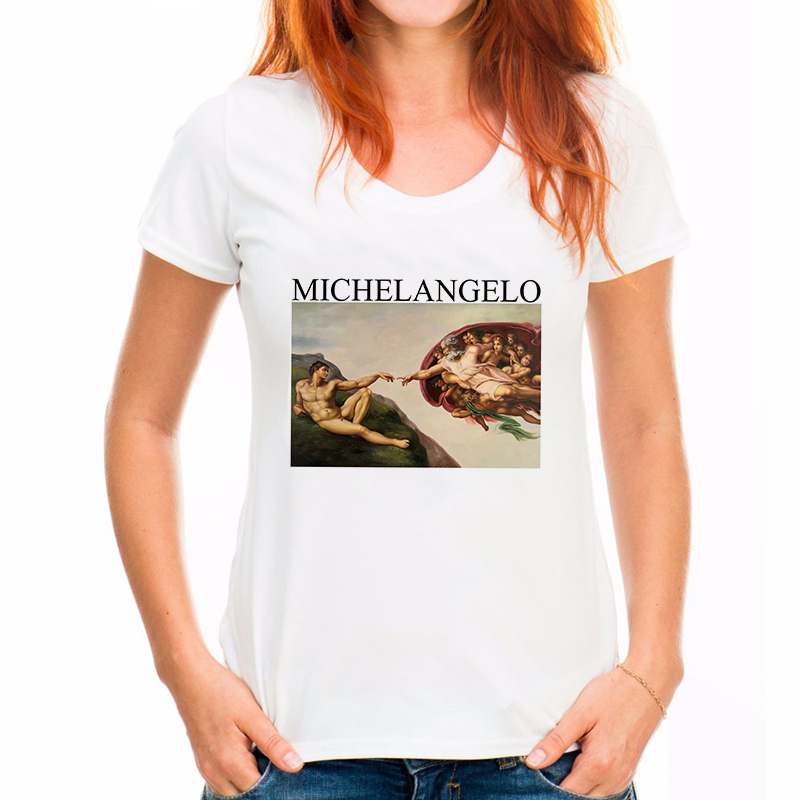 Hot Michelangelo Sistina Tshirt Harajuku Ulzzang Tumblr T Shirt Women T-shirt Kawaii T Shirt Femme Womens T Shirt