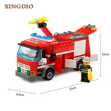 SINGDIO kids toys 206pcs Sprinkler fire truck Building Blocks Sets For a variety of fire equipment handle Entertainment Toys(China)