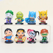 8pcs/set 5.5cm moviefigure Brinquedos Harley Quinn the Joker Green Lantern Wonder Woman PVC Action Figures Model Toys