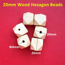 50pcs 20mm Hexagon Natural Wooden Beads Unfinished Baby Teether Wooden Teething Jewelry Necklace Beads(China)