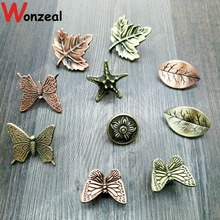 Vintage furniture handle of Leaf/Starfish/butterfly for Kitchen Cupboard Antique Cabinet Pull Knobs for Dresser Closet drawer(China)