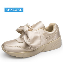 Bexzxed Women Bow Running Shoes Satin Bowknot Sports Shoes Round Toe Shoes Flats Ladies Bow Sneakers Pink Green Beige Silver