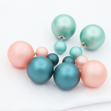 Double Pearl Earrings For Women Silver Double Side Big Ball Beads Stud Earring Piercing Statement Jewelry Accessories(China)
