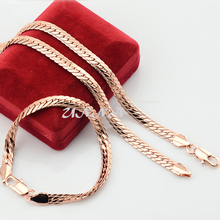 1 Set Man Woman 6mm Real Rose Gold Filled Set Jewelry Bracelet Herringbone Snake Chain Set Mufti Optional