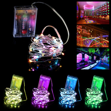 Hot Sale!!! Multicolor Fashionable 2M 20 LED Silver Light String Battery Powered Wire Twinkle Light Strip Five Color Options