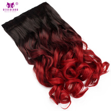 Neverland 20'' One Piece Natural Wavy Ombre Color Synthetic 5Clips Hair Extension Heat Resistant Hairpiece Clip In Hairpiece Red