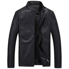 Hot autumn and winter quality men's leather jacket motorcycle jacket Slim casual solid color coat men's leather
