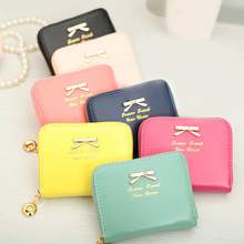 2015 Colorful Women's Fashional Mini Faux Leather Purse Zip Around Wallet Card Holders Handbag Short Small Purse Hot Sale