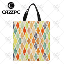 Colorful Watercolor rhombus Diamond geometric Pattern Print Custom Oxford Nylon Fabric Shopping Storage Grocery bag Pack of 2