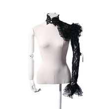 RQ Series Winter Arm Warmers With Flare Sleeve Cuff Gothic Black Lace Arm Warmer Women Fingerless Feather Arm Sleeves(China)