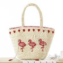 Summer Designer Lovely Animals Straw Bucket Bag Embroidery Woven Straw Tote Bag Summer Beach Bag Girls Casual Trave Holiday Bags