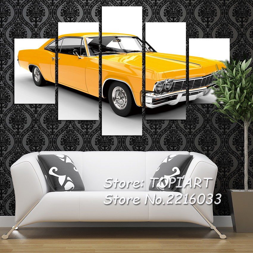 5 Panel Wall Decor Canvas Print Pictures Classic Muscle Yellow Car Vintage Antique Auto Painting For Man BedRoom Office No Frame(China)