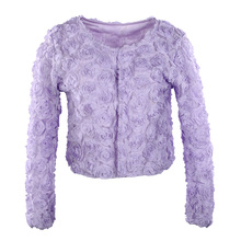 [Unbeatable At $X.99] Fashion Women Thin Coat 3D Rose Flower Mesh Lace Long Sleeve Short Coat Slim Tops Outerwear Purple