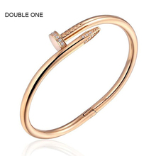 DOUBLE ONE Women's Stainless Steel Nail Style Love Bangle Bracelet Punk Styles Unisex Fashion Jewelry Gold(China)