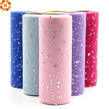 10YardX15cm Glitter Sequin Tulle Roll Crystal Organza Sheer Gauze Element Table Runner&Home Garden/Wedding Party Decoration(China)