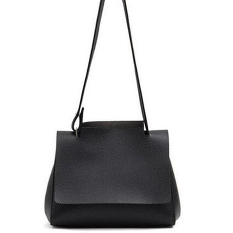 Bag  new simple female shoulder Messenger bag cross section solid color handbag black trumpet, black large, light gray trump<br><br>Aliexpress