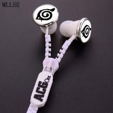 MLLSE Anime Naruto Ninja Konoha Leaf Logo Zipper Earphone Wired Stereo In-ear Earbuds Earphones Game Headset for Iphone Samsung
