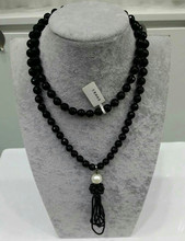 FREESHIPPING NEW FASHION JEWELRY 100 % natural simple plain black agate vintage pendant tassels neckalce pure handworking made