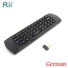 [Free Shipping] Original Rii i25 Mini 2.4G Wireless German(Deutsch) Version Keyboard/Air Mouse for Android TV/PC High Quality(China)