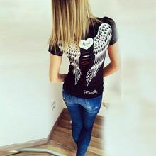 Novel Design 2017 Summmer wear Slim Style Women Short Sleeve O-neck Shirt Hollow Back Angel Wings Lace T-shirt(China)