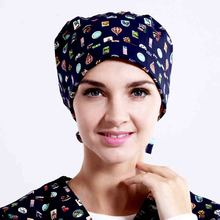 High - quality cap with a doctor 's cap sweat with a towel printed cap dome for short hair flower blue dog