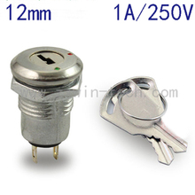 ( 1PC/PACK) 12mm Metal Key Switch 250V ON/OFF Lock Switch KS-02 Electronic Key Rotary Switch with Keys(China)