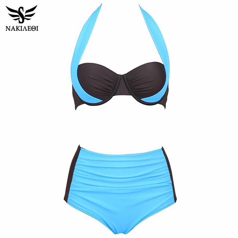 NAKIAEOI 19 New Sexy Bikinis Women Swimsuit High Waisted Bathing Suits Swim Halter Push Up Bikini Set Plus Size Swimwear 4XL 27