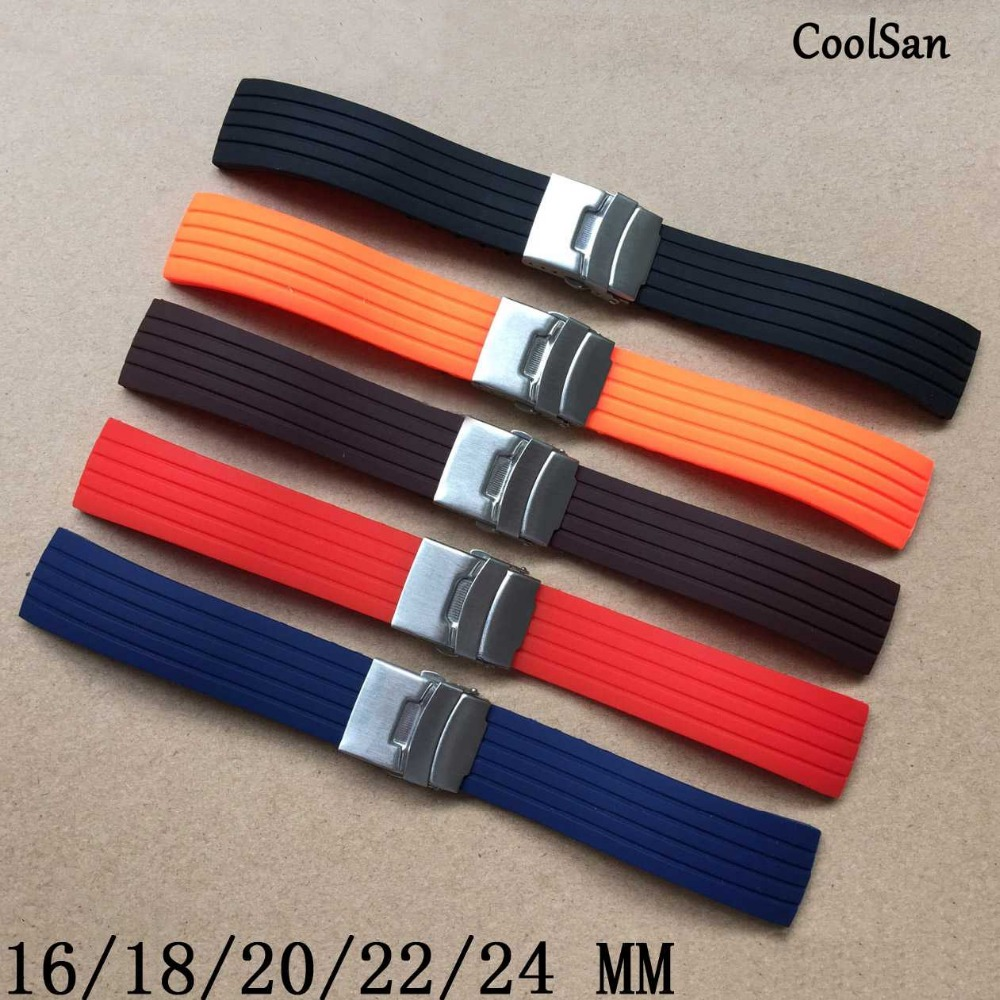 Essential 16mm,18mm, 20mm, 22mm, 24mm 5 colors New Silicone Rubber Watch Strap Band Deployment Buckle Waterproof BLack Watchband<br><br>Aliexpress