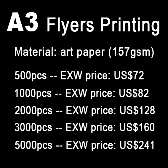 A3 Flyers Printing Print Leaflets Paper Full Color Both Sides