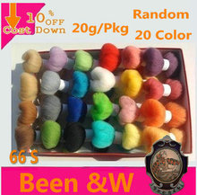Free shipping! Random 20 Color Wool felt poke fun Handmade DIY 20g/bag sheep Wool Roving,Fiber,needle Felting(China)