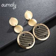 OUMEILY Drop Dangle Earrings Round Large Earring Fashion For Women India Gold Color Ethnic Jewellery Earings Brincos Jewelry(China)