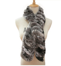 Fashion Womens Handmade Rabbit Fur Scarf With Natural Fur Ball Neckerchief Knitted Real Fur Neck Warmer AU00499